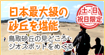 鳥取砂丘定時観光「日本最大級の雄大な砂丘を堪能